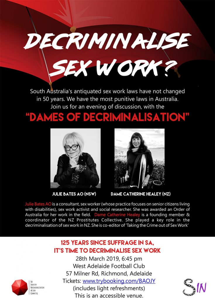 Decriminalise Sex work event poster: Dames of Decriminalisation on 28th March 2019, 6:45pm at West Adelaide Football Club.
